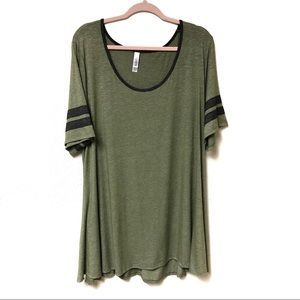 Lularoe the Perfect Tee Green Jersey Stripes 3X